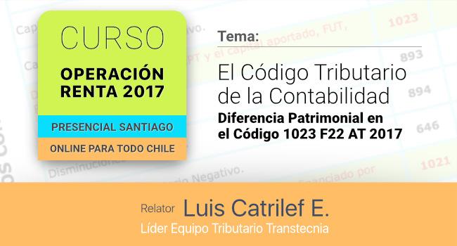Curso: Operación Renta 2017. El Código Tributario de la Contabilidad a incluir en el Formulario 22.