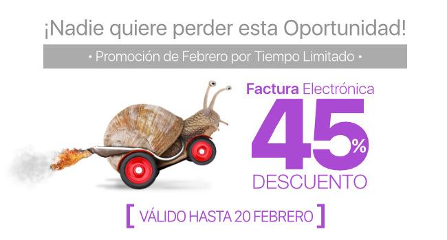 45% de Descuento en Factura Electrónica hasta 20 de Febrero
