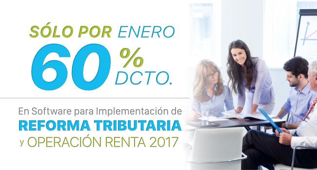 Transtecnia - Sólo por Enero 60% de Descuento en Software de Reforma Tributaria y Operación Renta 2017 tener nuestro software de Contabilidad al Día